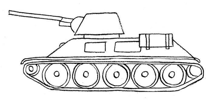 Как нарисовать поэтапно карандашом танк тигр