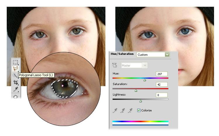 Как на фотошопе сделать голубые глаза