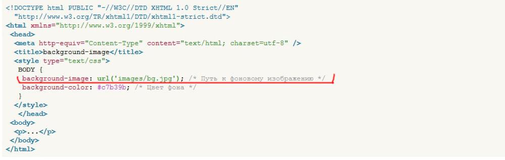 Html код как сделать фон