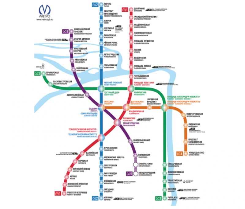 Схема метро от финляндского вокзала к московскому