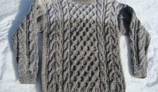 Схема вязания вязанной теплой кофты спицами